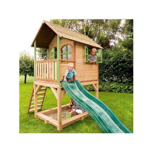 Pakefield Playhouse - Kids Wooden Wendy House on Stilts with Slide and Sandpit